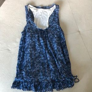 Express blue floral with under white top.
